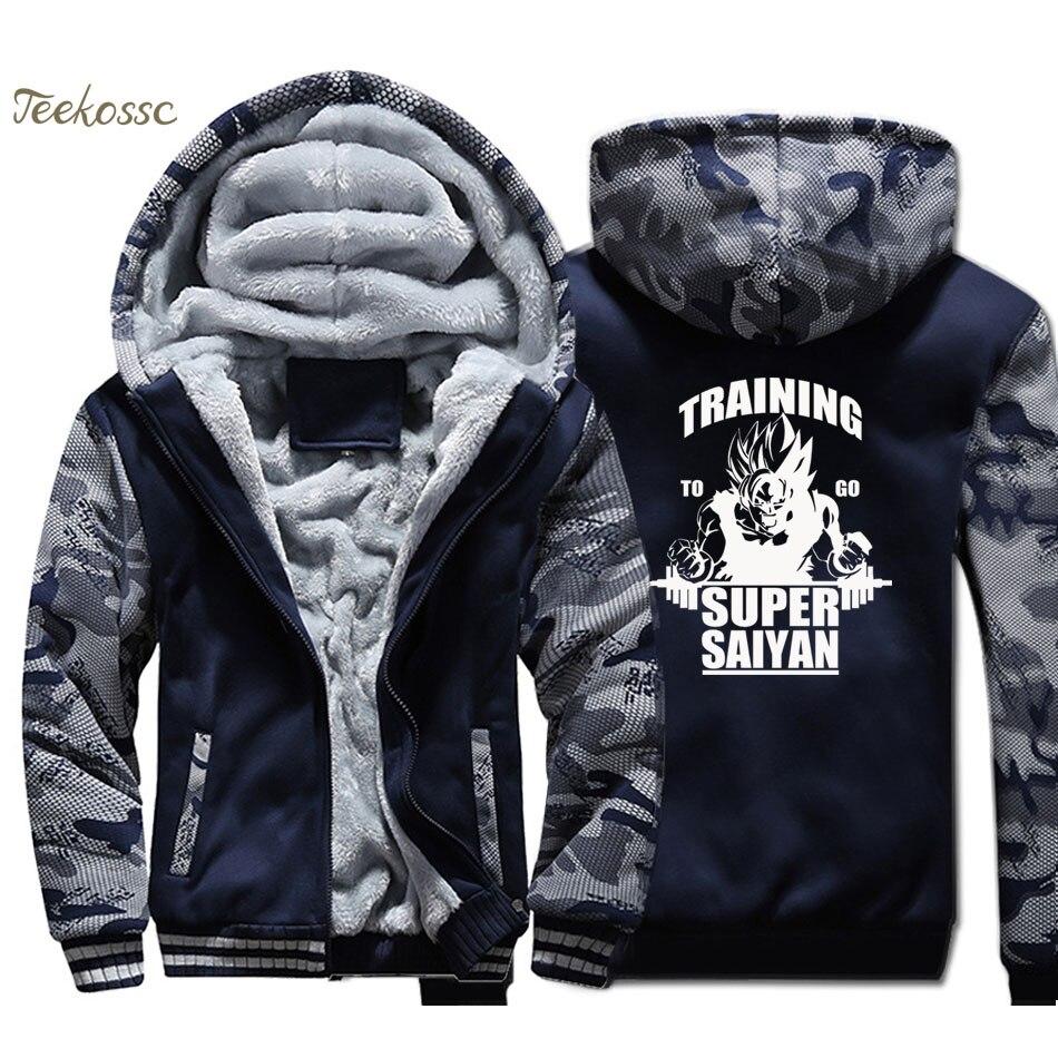 Dragon Ball Jacket Training Hoodie Men Super Saiyan Sweatshirt Anime Coat Winter Thick Fleece Camouflage Harajuku Streetwear