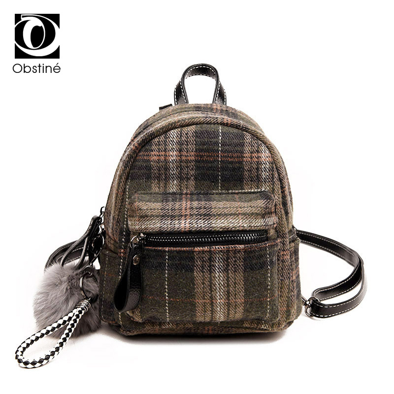 Fashion Mini Backpacks for Girls Wool Plaid Backpack Female Casual Small Daypack Woman Cute Back Pack for Women Shoulder Bags