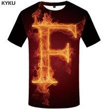 KYKU llama Camiseta Hombre letra camiseta impresa negro camisetas 3d fuego camisa estampado gótico camisetas Casual Hombre Ropa verano