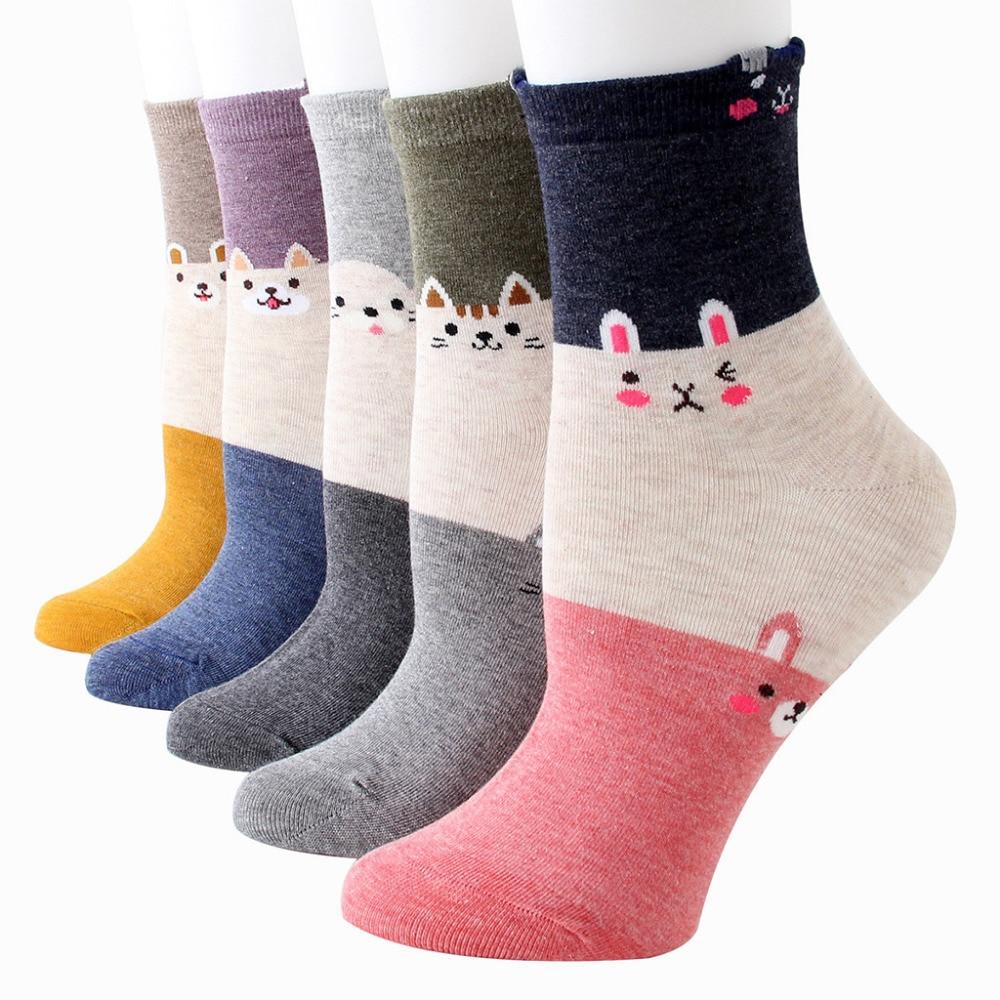 1 Pair Women Cotton   Socks   Dog Animal Character Print Women's Winter   Socks   Stylish Chaussette Comfortable   Sock   Elastic Meias