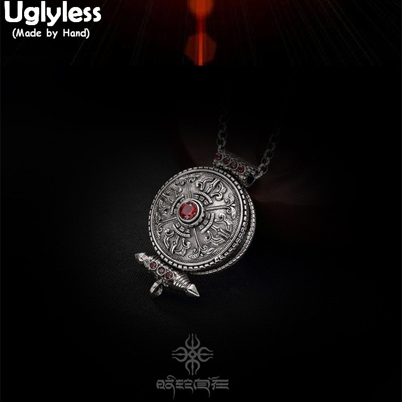 Uglyless Real 925 Sterling Silver Handmade Unisex Cross Vajra Pendant without Chain Tibetan Retro Jewelry Gaudencio Openable Box 925 sterling silver jewelry necklace pendant retro evil vajra pestle jiangmo avoid evil spirits musical instruments