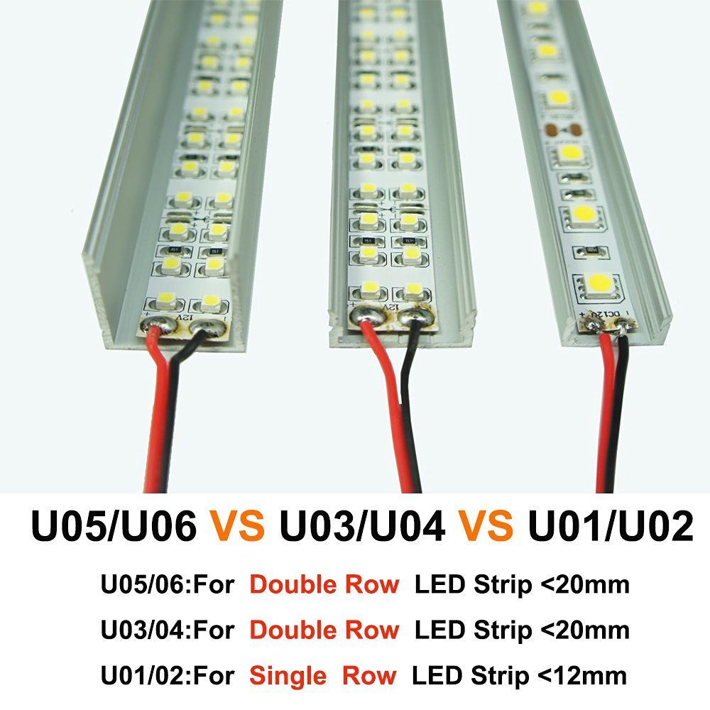 20 Teile/los 2 mt lange U Aluminium Kanal für flex/hard Led streifen ...