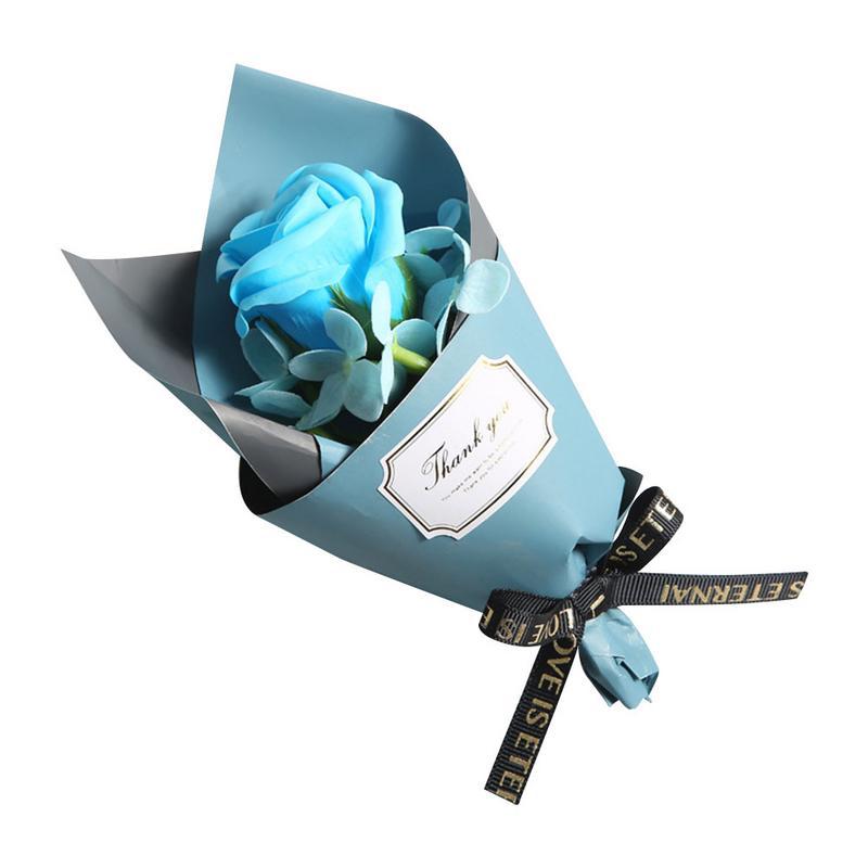Красивый одиночный букет розы ручной работы мыло цветок подарок на день матери мини букет подарок на день рождения искуственные цветы для декора - Цвет: Blue