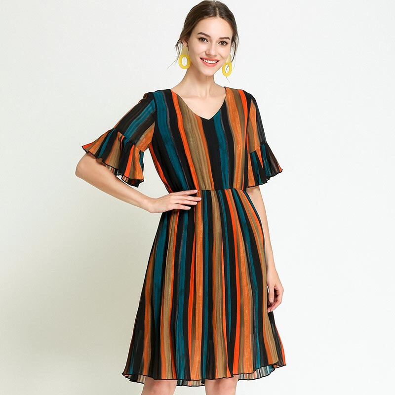 2018 Rainbow Vertical Striped Dress Summer Chiffon Dress Elegant Maternity Dress Loose Pregnancy Clothes Plus Size M-5XL Ruffles