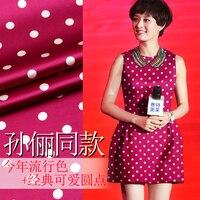 118 cm large 93% soie et 7% spandex 19 mm polka dot impression vin rouge élastique satin de soie tissu pour vêtements d'une seule pièce trouserings robe