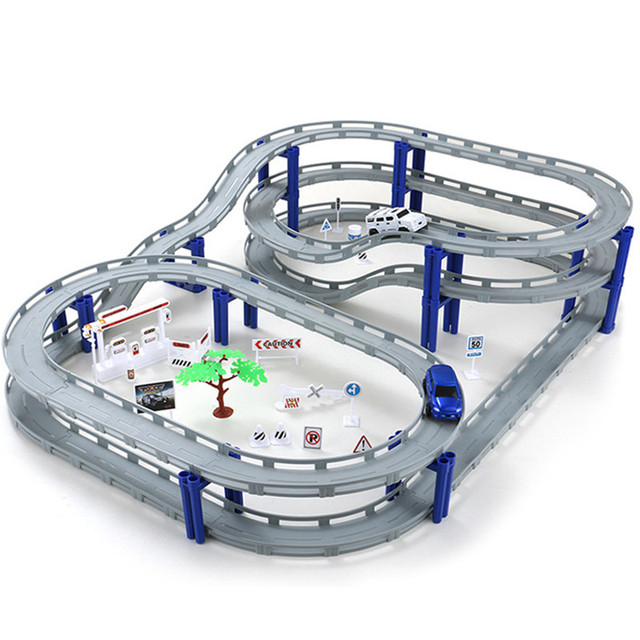 48pcs 65pcs Racing Road Train Track Bridge Railway Electric Race Car Tracks Toy Overp Diy Toys Birthday Gifts