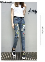 Women Printed and Embroidery Jeans Summer Loose Hole Fashion jeans Ankle length Trousers Pencil pants female