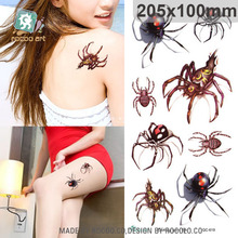 Body Art Waterproof  temporary tattoo sticker for men women punk 3d colours spider large arm tatoo wholesale QC2619