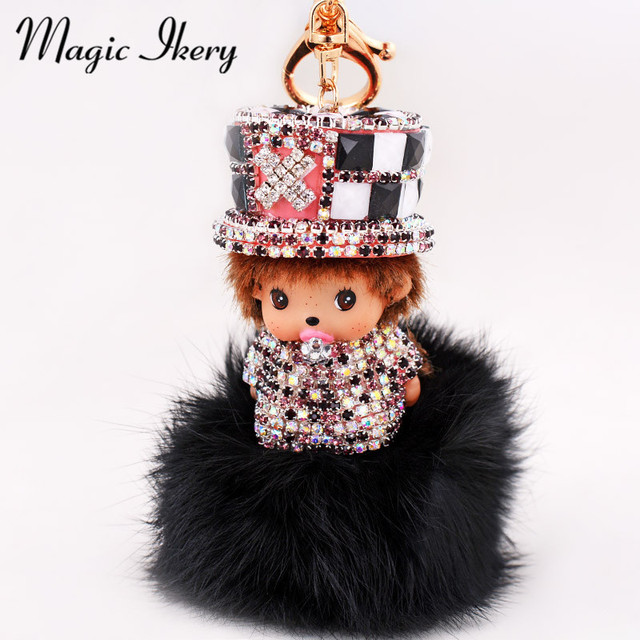 Magic Ikery  Gold Plated Rhinestone Crystal casual monchichi bag pendant Key Chains Wholesales Fashion Jewelry for women MKCH018