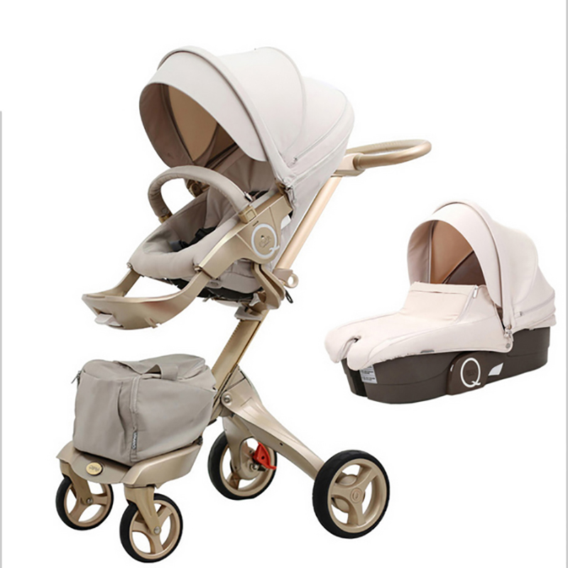 QI Bayer High landscape children's trolley double-sided can be lying can be folded umbrella folding car four round German langua cr80 crf125 150 250 450 230f falling short handle can be folded forging horn