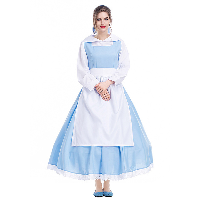 Free Shipping Blue Dress Belle Costume Beauty And The