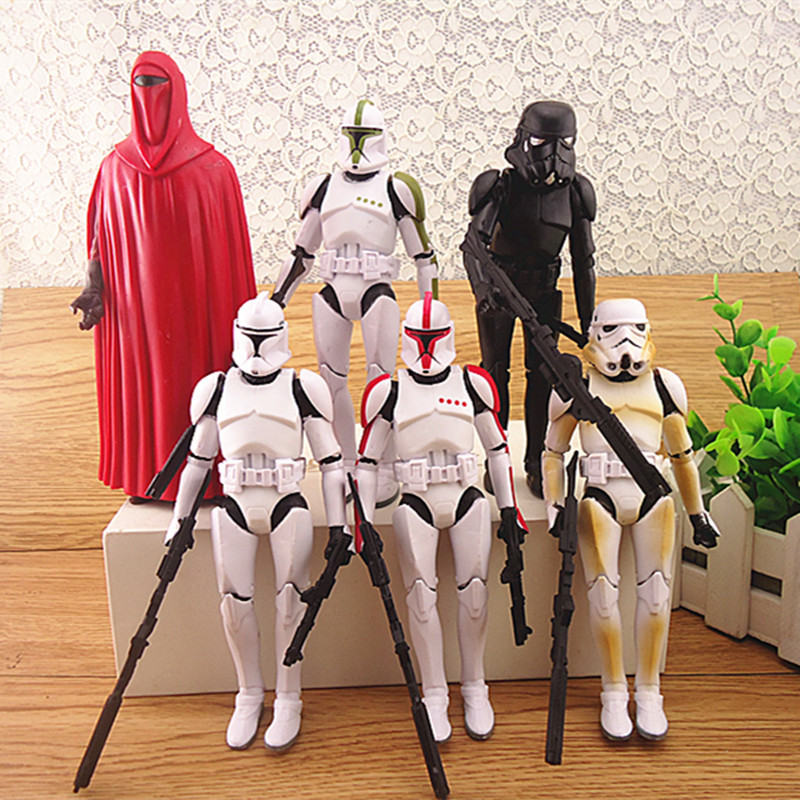 Children's 6Pcs/set 15cm Darth Vader Revenge Of The Sith Storm Trooper Anakin Skywalker+weapons Action Figure Toy kids Xmas gif new 1pc darth vader 10cm baby kids childs action figure toy loose xmas