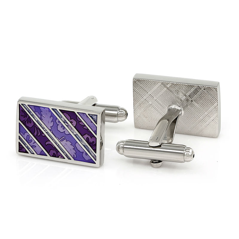 Purple Engraved Silver Plated Cufflinks for Men Personalized Groomsmen Gifts