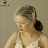 CC Bridal Wedding Short Veil Yarn Soft Pearl Hair Accessories Hairwear Elegant Brides Engagement Pageant Romantic