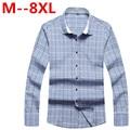 Большой размер 8XL 7XL 6XL 5XL 4XL бренд мужской одежды slim-подходят мужчины с длинным рукавом мужчины плед хлопок свободного покроя мужчины рубашка социальной