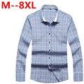 Más tamaño 8XL 7XL 6XL 5XL 4XL marca ropa hombre Slim Fit hombres camisa de manga larga hombres Plaid algodón para hombres camisa ocasional sociales