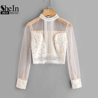 SheIn Sexy Women Blouses Summer 2017 Band Collar Mesh Sleeve Lace Top Autumn Apricot Long Sleeve