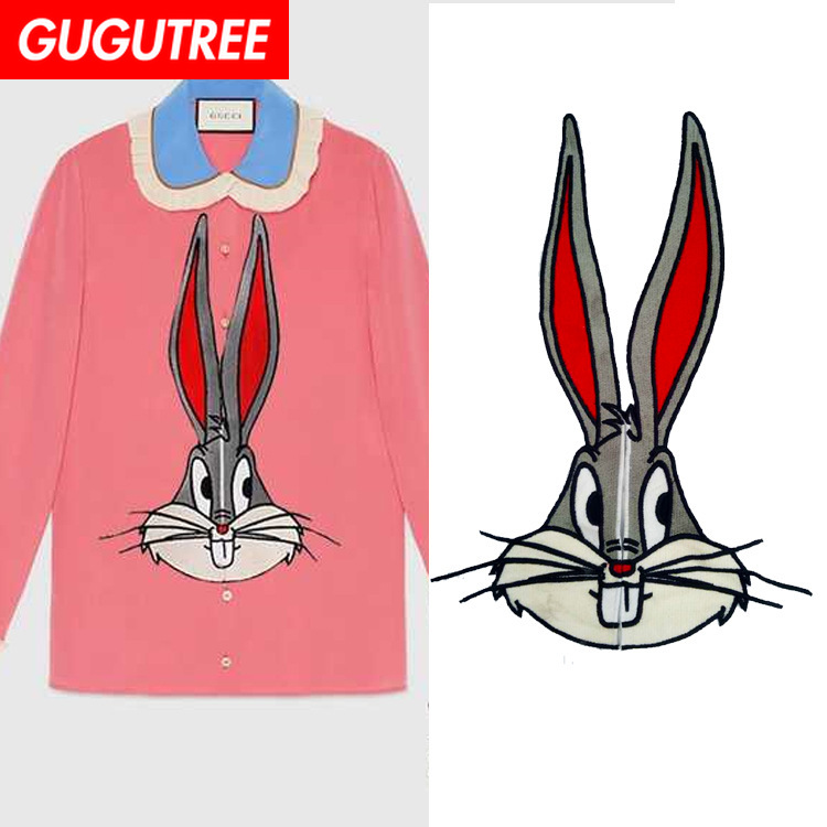 GUGUTREE embroidery big rabbit patches animal patches badges applique patches for clothing ZM 127 in Patches from Home Garden