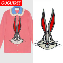 GUGUTREE embroidery big rabbit patches animal badges applique for clothing ZM-127
