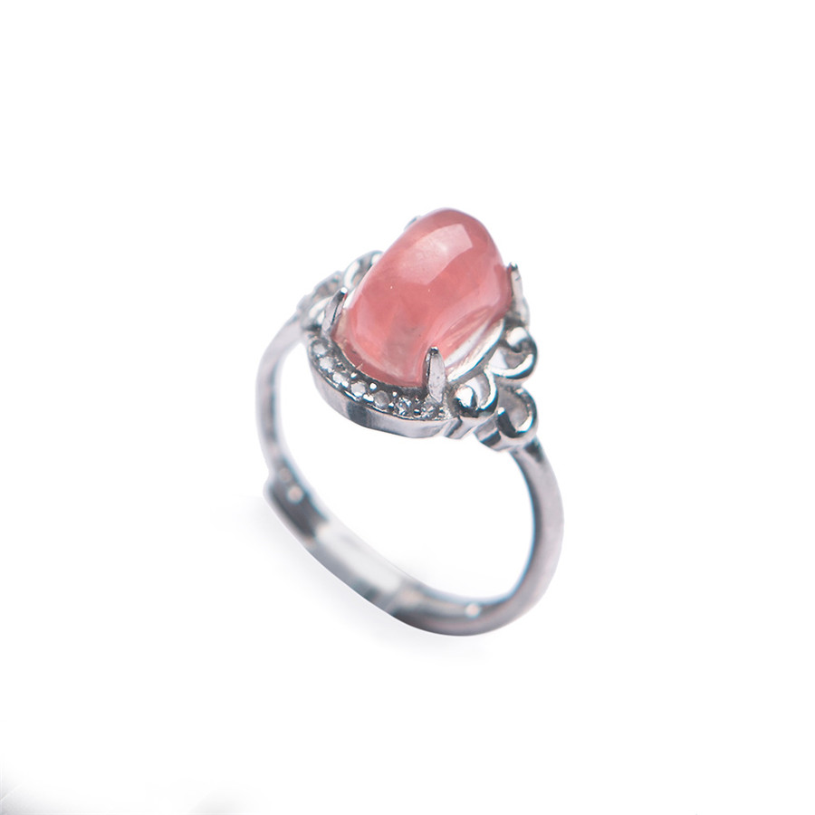 Genuine Natural Adjustable Rhodochrosite Crystal Ring Fashion 925 Sterling Silver Crystal Women Ring Adjustable Size RingGenuine Natural Adjustable Rhodochrosite Crystal Ring Fashion 925 Sterling Silver Crystal Women Ring Adjustable Size Ring