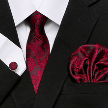 Men`s Tie 100% Silk Red Plaid print Jacquard Woven + Hanky Cufflinks Sets For Formal Wedding Business Party Free Postage