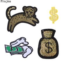 Prajna Wealth Dollar Embroidered Patches For Clothes Money Leopard Iron On Patch DIY Wallet Sticker On Dress Luck T-shirt Decal(China)