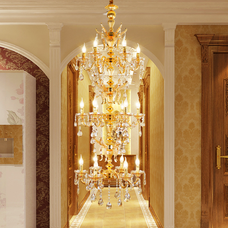 Nordic Long Stair Chandelier Lamp Foyer Gold Crystal Chandeliers Lustre De Cristal Europe Style Retro Hanging Light For Villa