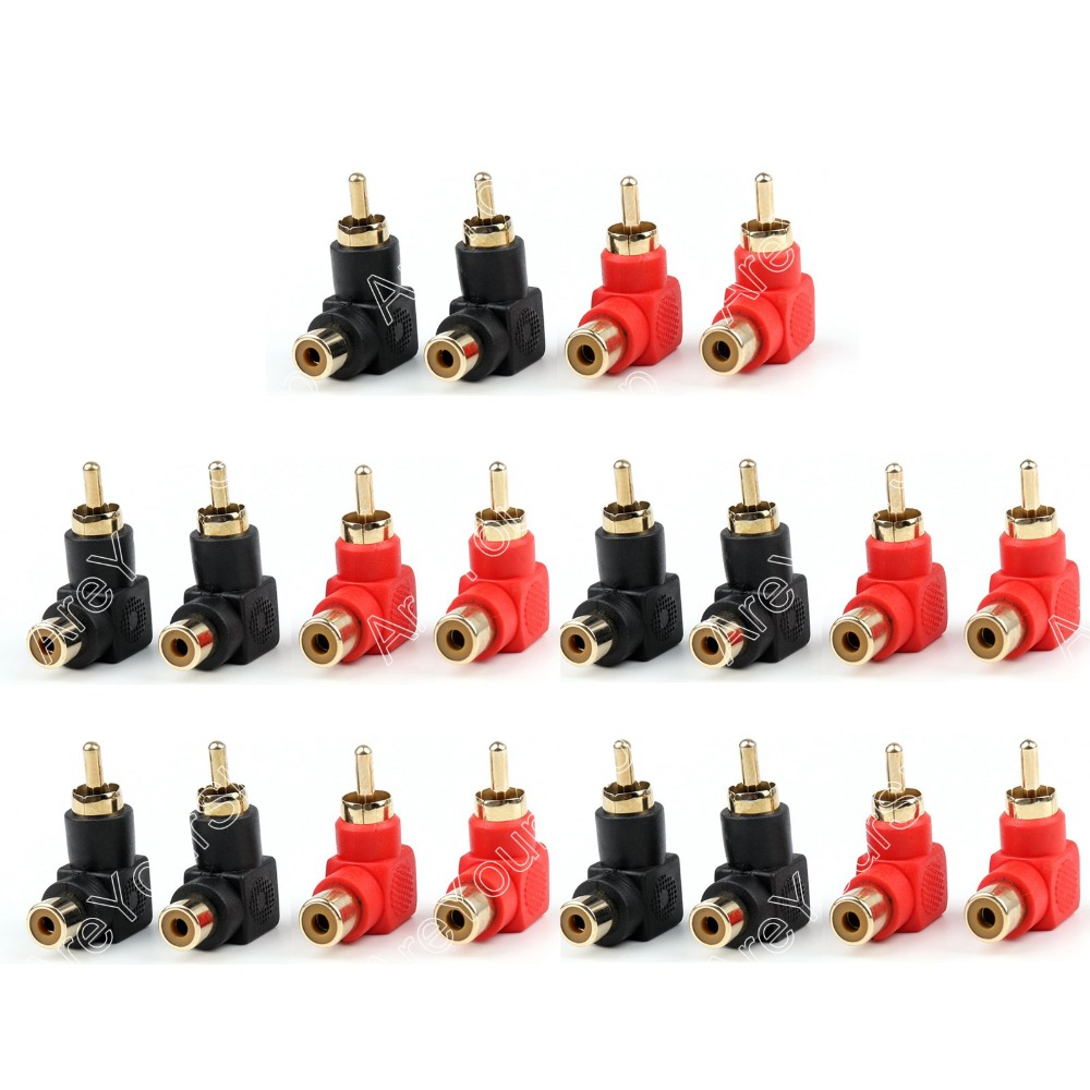 Areyourshop Sale 20 Pcs RCA Right Angle Connector Plug Adapters Male To Female 90 Degree Elbow areyourshop sale 4 pcs metal solder rca male plug with spring red