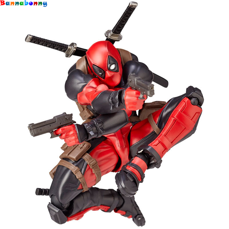 15CM Deadpool Revoltech X-Men Action Figure Wade Winston Wilson Doll With Sword Gun Weapon Cool Model Toy figma x man series spiderman figure no 001 revoltech deadpool with bracket no 002 revoltech spider man action figures
