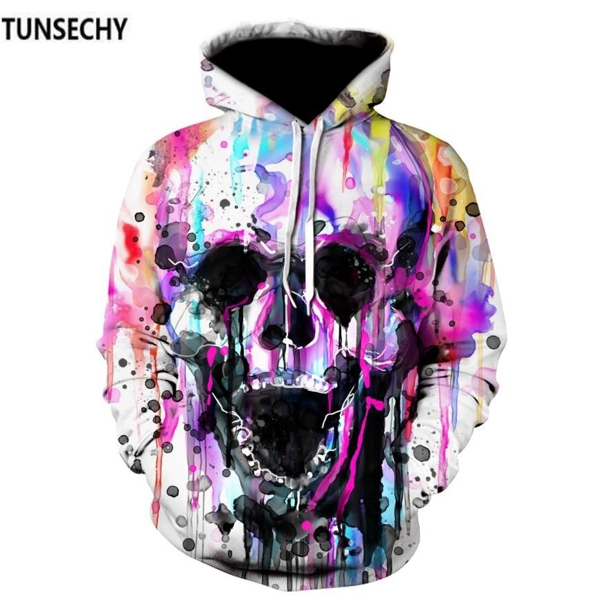 TUNSECHY 2018 Hoodies Men Hoody Sweatshirts Melted Skull 3D Print Fashion Casual  Hoodies & Sweatshirts Wholesale and retail