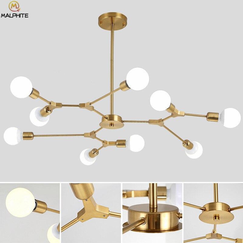 Nordic Modern Lustre Chandelier Light Simple Living Room Golden Chandelier Lamp Molecular Kitchen Fixtures Lighting Luminaria