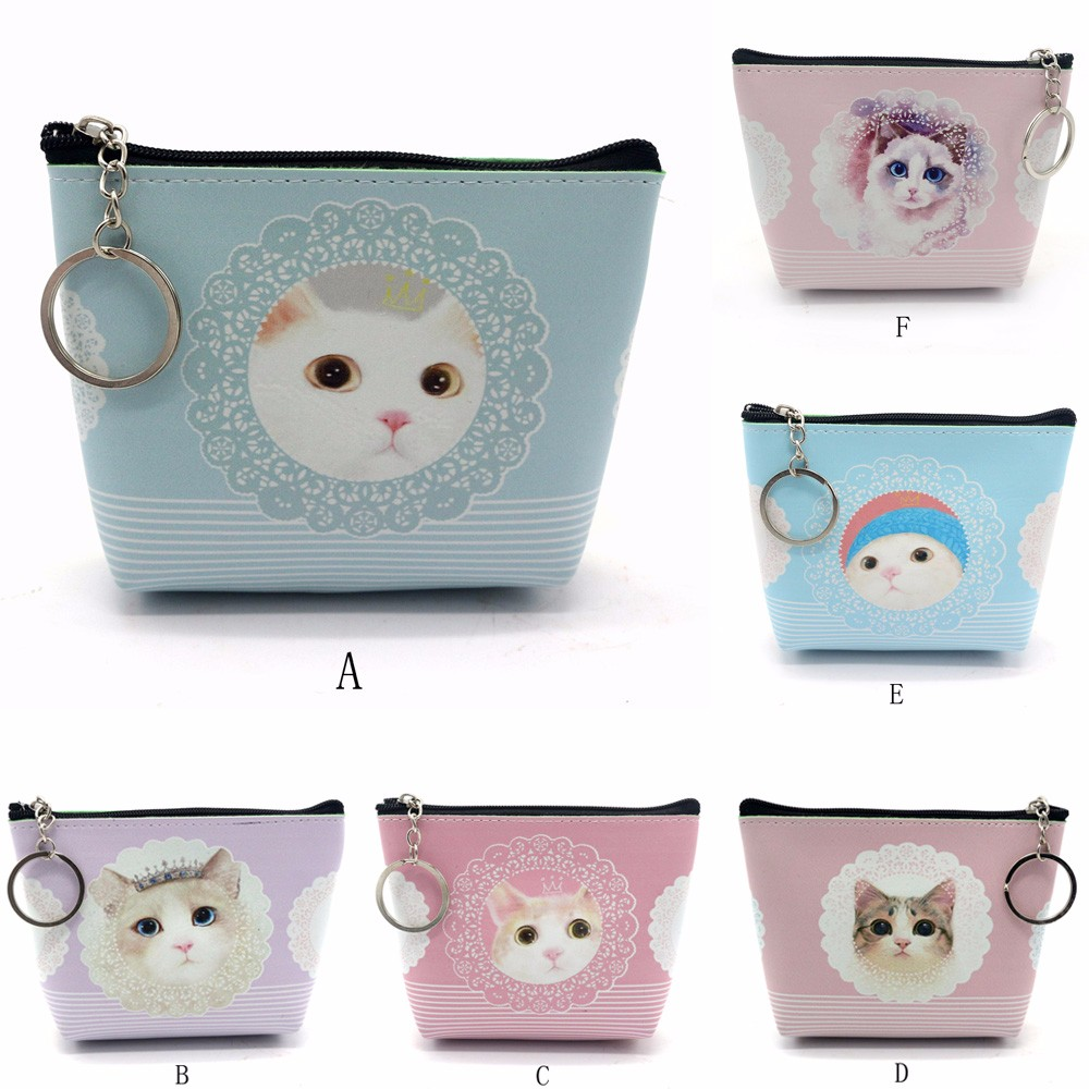 Maison Fabre Hot Sale Cartoon cute cat zipper Girls Women Lady PU Leather Small Wallet Coin Purse Clutch Bag p# dropship