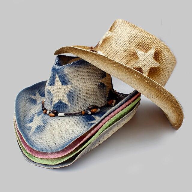 Pekerjaan tangan pria Berongga Jerami Western Cowboy Hat Pria wanita Musim  Panas Jazz Topi Cowgirl Ayah a03d47dfb5