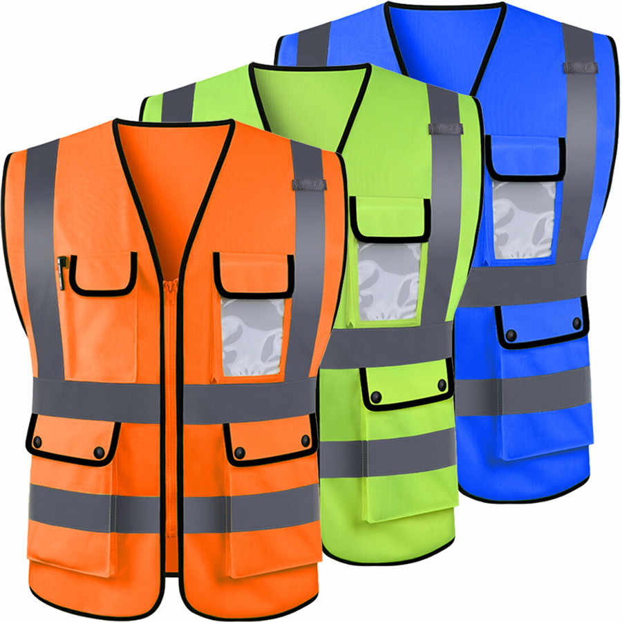 High Visibility Hi Vis Safety Vest Reflective Driving Jacket Worker Night Security Waistcoat Set With Pockets For Work Run Aliexpress