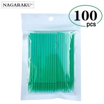 NAGARAKU makijaż rzęs Maquiagem 100 sztuk/opakowanie Micro trwałe jednorazowe aplikatory Mascara Brush klej do rzęs urządzenia do oczyszczania