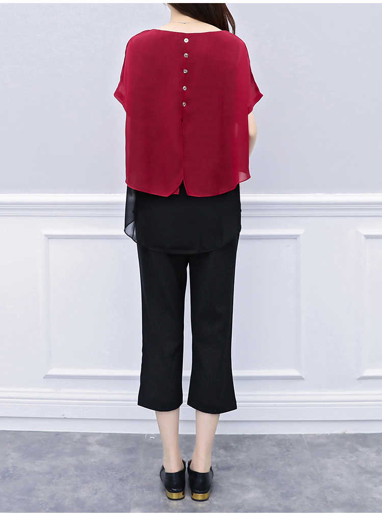P06 M-5xl Large Size Women's Summer Wear Chiffon Suits The New Two-piece Solid Calf-length Pants Office Lady Ruffles Black Set
