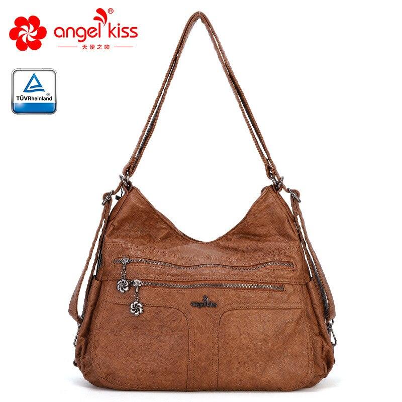 Angel Kiss Fashion High Quality Roomly Women Tote Bags Soft Washed PU Leather Handbag Casual Hobos