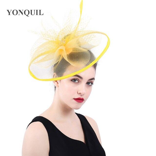 Women Yellow summer headwear Classic Feather big Hats ladies kenducky derby  Fascinator race Bridal headdress Wedding accessories 7d1dcaffb5d