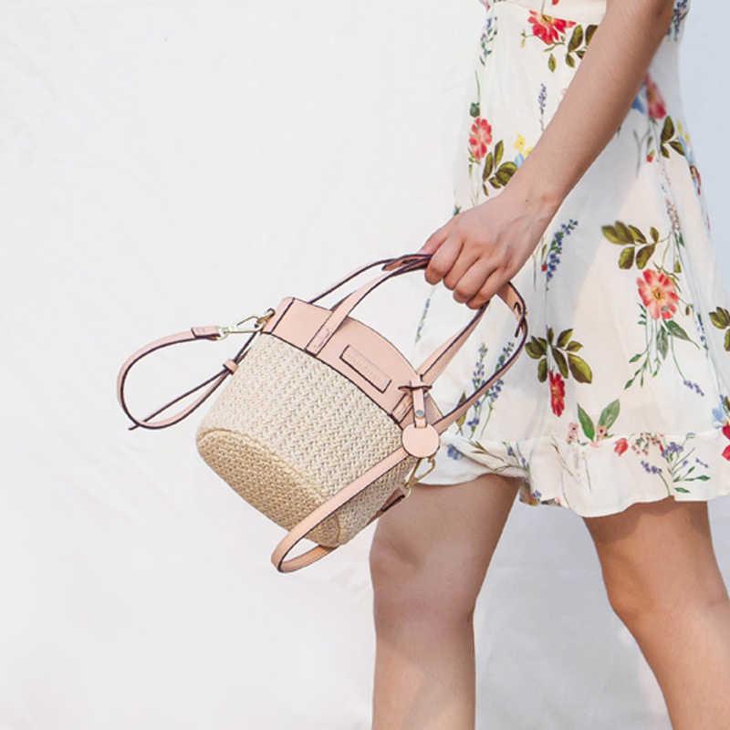 2018 Новый Для женщин скошенный соломенные сумки трава тканые Лето портативный плечо ротанга посланник женские сумки через плечо