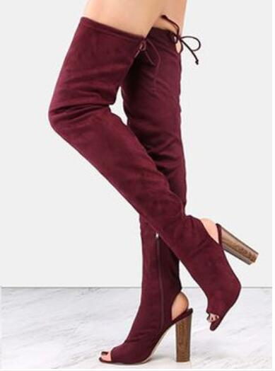 2018 Womens Boots Thigh High Stretch Fabric Peep Toe Square Heels Over The Knee Boots Cut-out Back Lace-up Fashion Long Boots black stretch fabric suede over the knee open toe knit boots cut out heel thigh high boots in beige knit elastic sock long boots