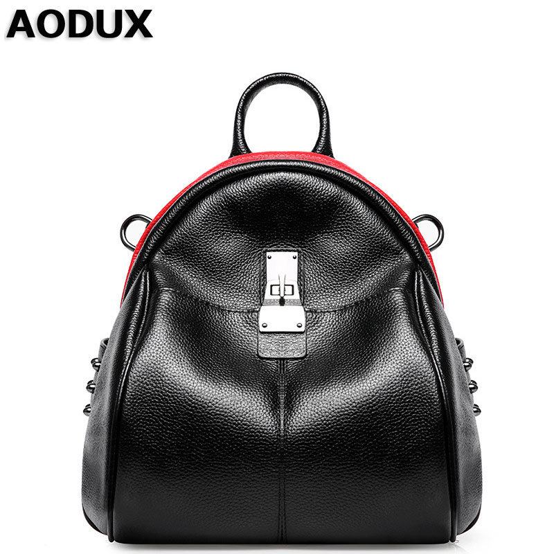 AODUX Woman Leather Backpack Genuine Leather Women's Backpacks Ladies Girl's School Bag Real Cowhide Mochila zoole brand genuine leather backpacks women school style cowhide travel bag ladies real leather backpack female designer mochila