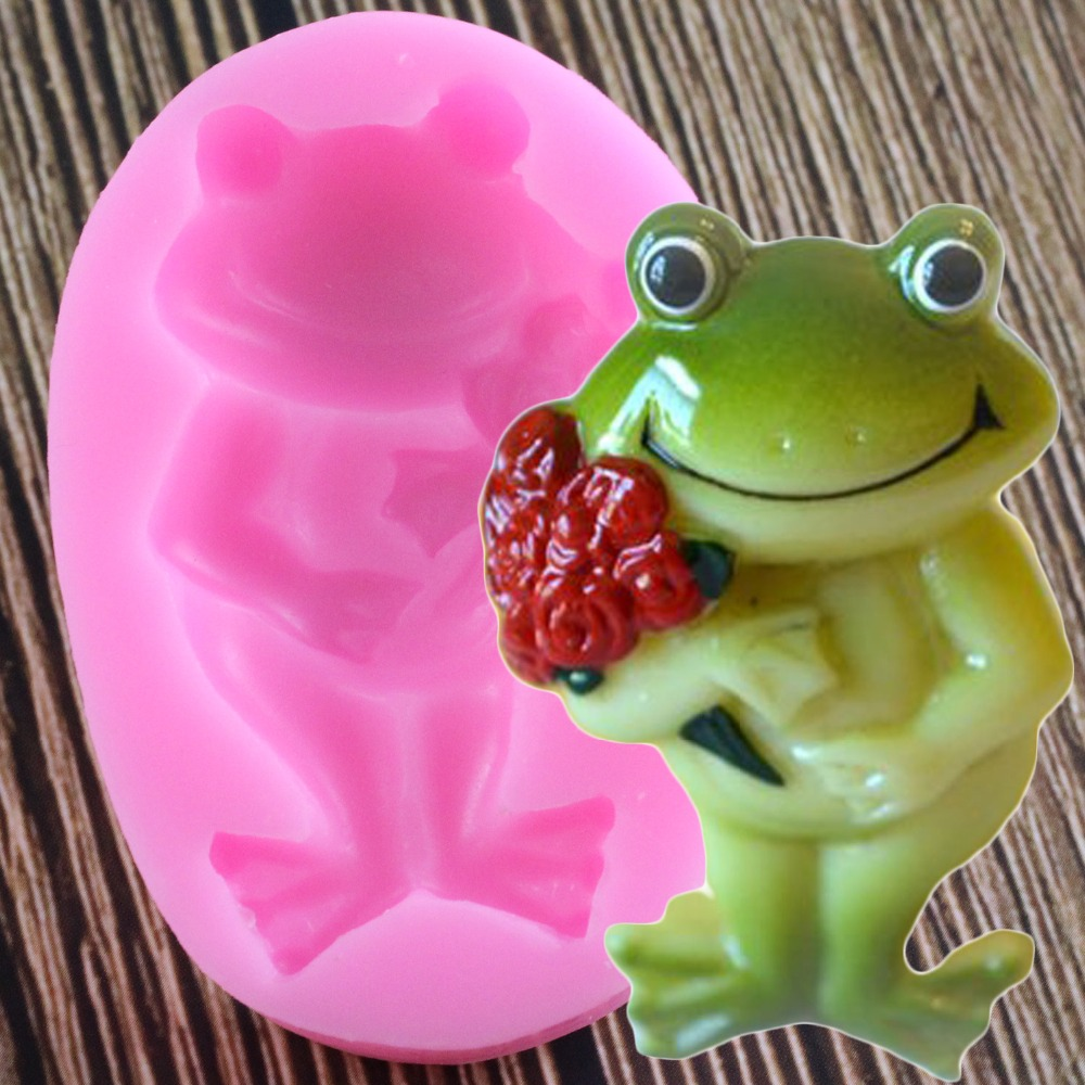 Cute Frog Silicone Mold DIY Rose Flower Bouquet Fondant Cake Decorarting Tools Jelly Candy Clay Cookie Chocolate Gumpaste Molds