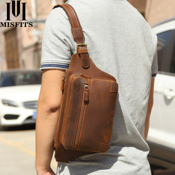 MISFITS new vintage genuine crazy horse leather chest Bag men waist Packs crossbody luxury brand shoulder messenger bag for male a2015 brand new crazy horse genuine leather