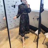 2019 spring new vintage style ruffles collar Abstract printed women waist long chiffon skirt
