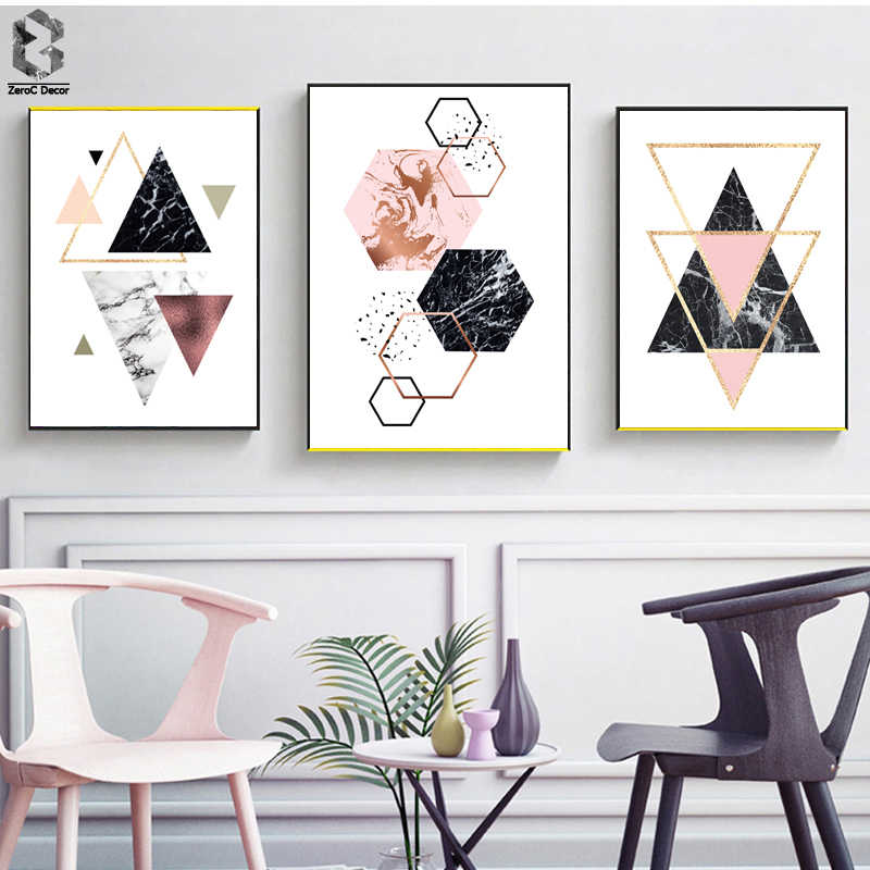 Nordic Art Posters and Prints Geometric Marble Wall Art Canvas Painting Modern Wall Pictures For Living Room Home Decor