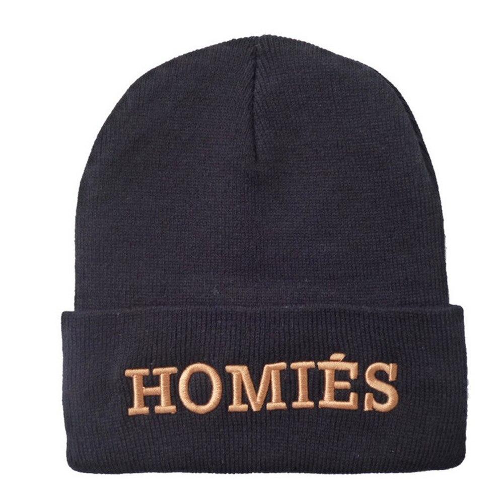 Hot Sale HOMIES Male Beanies Hat Men Letter Hip Hop Beanies Skull Hat  Knitted Wool Hats for Women Winter Hats Head Cap rwby letter hot sale wool beanie female winter hat men