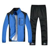 Spring Autumn Men Sportswear Sets Plus Size Men Sporting Suit Jacket Pant Sweatsuit 2 Piece Set