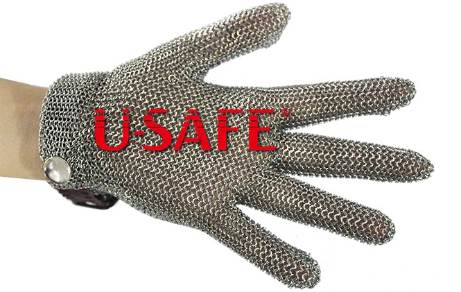Plastic Strao stainless steel chain mail glove mesh glove strong strap cut proof strap cuff glove top quality 304l stainless steel mesh knife cut resistant chain mail protective glove for kitchen butcher working safety