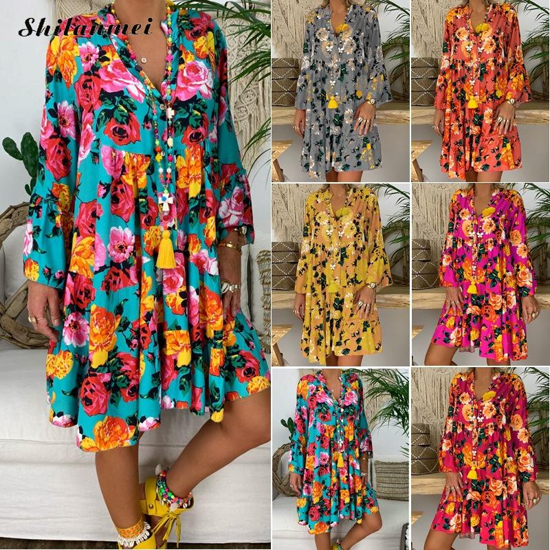 Floral Printing Big Size Beach Dress Women 2019 V Neck Long Sleeve Autumn Fashion Party Dress Loose Causal Female Boho Sundress