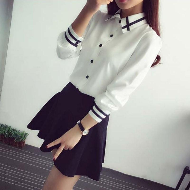 HTB1m.xWNXXXXXb1XXXXq6xXFXXXO - Fashion Ladies Office Shirt White Blue Tops Formal
